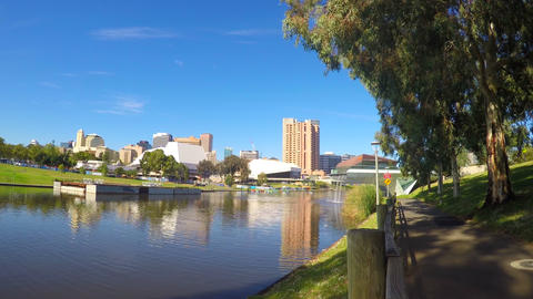4k Adelaide Riverbank City skyline from across the Torrens River riverbank taken Footage