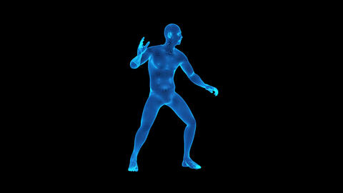 3D Blue Animated Wireframe Man Loop Graphic Element Animation