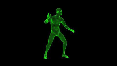 3D Green Animated Wireframe Man Loop Graphic Element 애니메이션