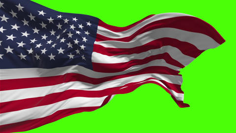 American flag waving on the wind on green background Footage