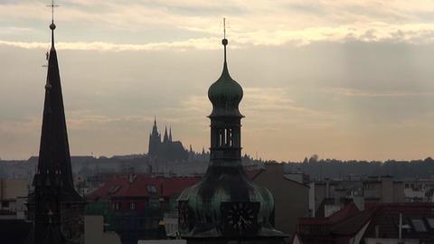 Prague, aerial view, night scene, old Church ビデオ