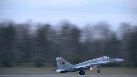 MiG 29 fighter, gaining speed and takes off Footage