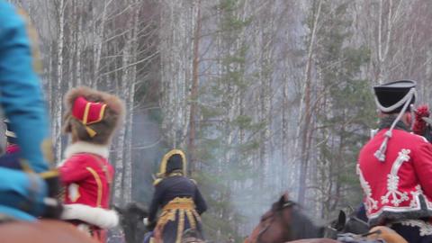 War of 1812, saber fights, hussars, cavalrymen Footage