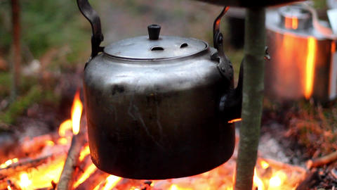Tourist teapot is heated in the forest at the stake, travel and tourism Footage