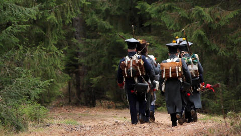 In 1812, French soldiers are in the woods Footage