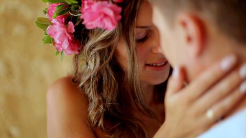 beautiful happy newlyweds gentle loving couple, gentle embraces Footage