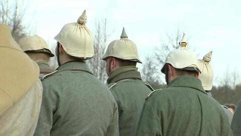 German soldiers of the first world war shoot guns, re-enactors Footage