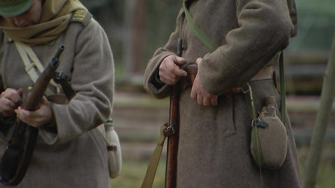 Russian soldiers of the first world war, charge carbine,re-enactors Live Action