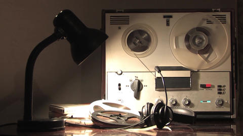 Reel tape recorder,spinning reel, wiretapping by intelligence agencies Live Action