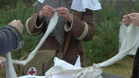 the nurses rolled bandages, first world war Footage