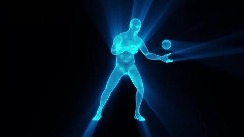 3D Blue Wireframe Man with Sphere & Light Rays Loop Graphic Element Animación