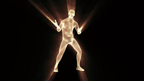 3D White Wireframe Man with Light Rays & Smoke Loop Graphic Element Animation