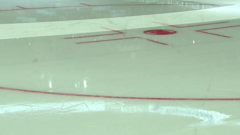 Ice arena, a hockey court, make ice Live Action