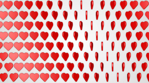 Rotating hearts romantic love red white background Animation