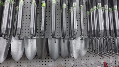 Garden tools on shelves Footage