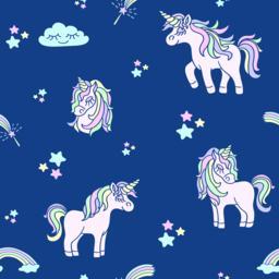 Pink unicorns on the navy blue seamless pattern ベクター