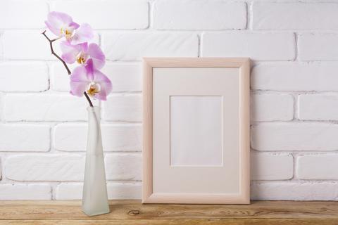Wooden frame mockup with tender pink orchid フォト
