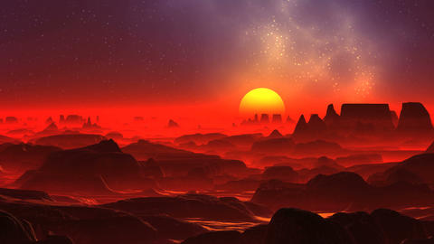 Red Fog on the Alien Planet Animation