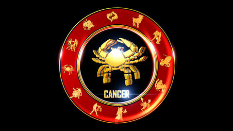 CANCER Zodiac sign It`s Nice rotating 3d golden Zodiac sign (Indian astrology) Animation