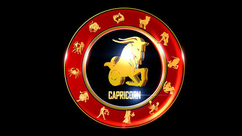 CAPRICORN Zodiac sign It`s Nice rotating 3d golden Zodiac sign (Indian Animation