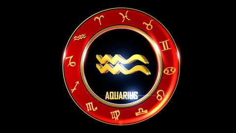 AQUARIUS Zodiac sign It`s Nice rotating 3d golden Zodiac sign (Western CG動画素材