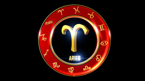 ARIES Zodiac sign It`s Nice rotating 3d golden Zodiac sign (Western astrology) Animation