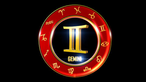 GEMINI Zodiac sign It`s Nice rotating 3d golden Zodiac sign (Western astrology) Animation