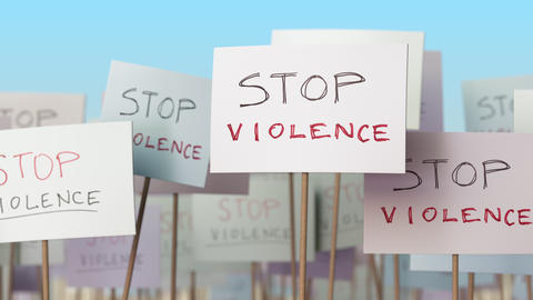 STOP VIOLENCE placards at street demonstration. Conceptual loopable animation Live Action