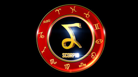 SCORPIO Zodiac sign It`s Nice rotating 3d golden Zodiac sign (Western astrology) Animation