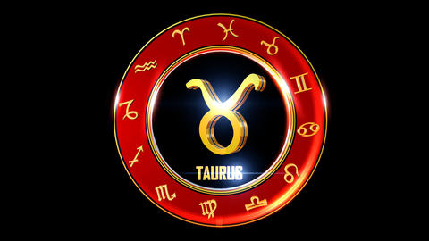 TAURUS Zodiac sign It`s Nice rotating 3d golden Zodiac sign (Western astrology) CG動画素材