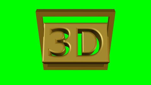 3d animation with 3d symbol cut out in golden cube. 3d box with letters rotating Animation
