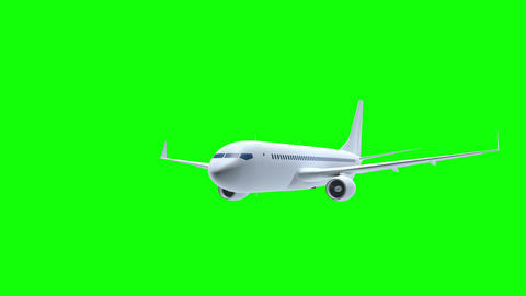 Render of airplane 3d flies on green screen background ビデオ
