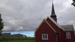 Norway Lofoten islands Flakstad Church with amazing cloud cover above GIF