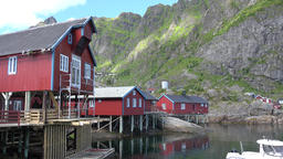 Norway Moskenesoy island fishing village Å i Lofoten harbor building on stilts Footage
