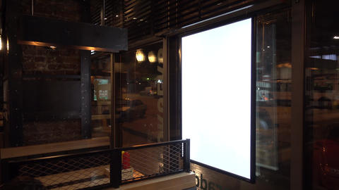 Blank advertising billboard in cafe Live Action