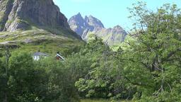 Norway Moskenesoy island village Å i Lofoten surrounding mountain landscape ビデオ