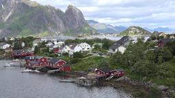 Norway Lofoten Moskenesøya island Reine mountain range and cityscape Footage