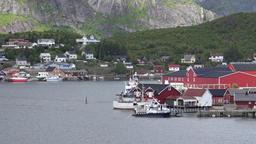 Norway Lofoten Moskenesøya island small town Reine waterfront with berth ビデオ
