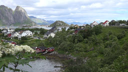 Norway Lofoten Moskenesøya island small town Reine meadows and trees GIF