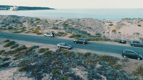 Car on beach road 4k 影片素材