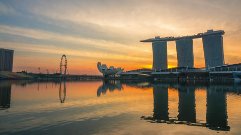 Morning in Marina Bay and Mist. Time Lapse GIF