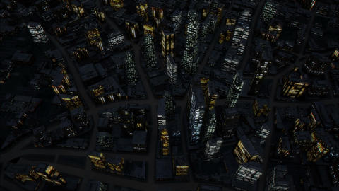Night city birds eye view 4K Animation