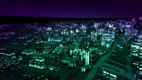 Night city side track night vision color Animation