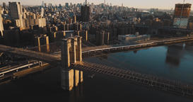 Aerial footage, Manhattan Bridge near, New York Architecture Footage