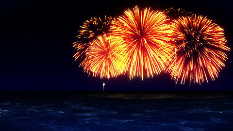 Colorful Fireworks Light Up the Sky, CG Animation, Loop CG動画素材