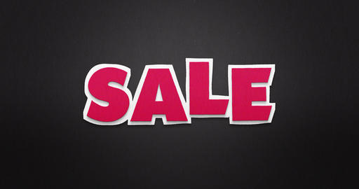 Sale. Pink letters fly from the top in and disappear again Animation
