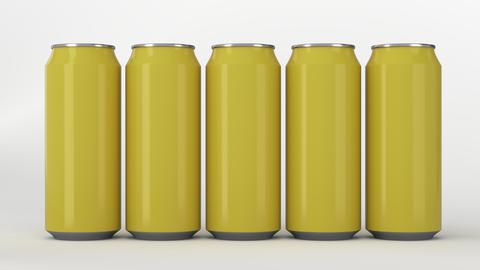 Yellow soda cans standing in two raws on white background フォト