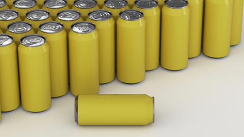 Big yellow soda cans on white background フォト