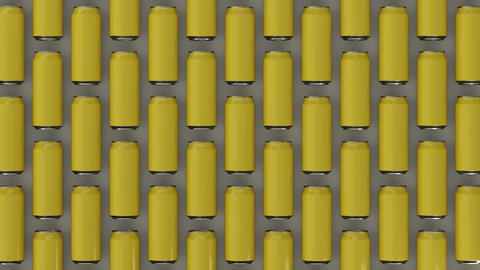 Raws of yellow soda cans Photo