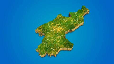 North Korea country map satellite camera zoom in sky effect shot visualization After Effects Template